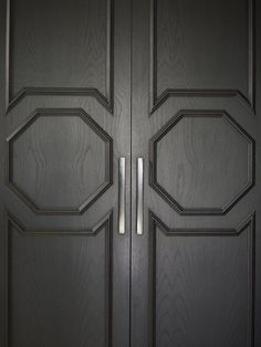 Stunning black front doors with octagon millwork and brushed nickel hardware. Panel Doors, Windows And Doors, Muebles Home, Joinery Details, French Walls, Door Detail, Entrance Doors, Front Doors, Entrance Halls