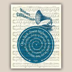 Hotel California  Eagles song lyric vinyl record Art Print on old music sheet, music wall art decorative arts wall hangings, PRINT 11x14''. $25.00, via Etsy.