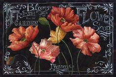 Flowers in Bloom Chalkboard Landscape Canvas Art - Tre Sorelle Studios x Decoupage Dresser, Decoupage Vintage, Decoupage Canvas, Vintage Chalkboard, Chalkboard Art, Apple Blossom Flower, Blooming Flowers, Chalk Art, Diy Wall Art