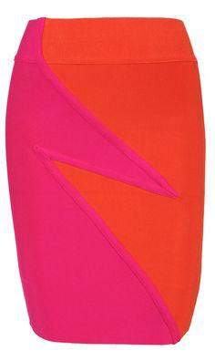 'Lightning' Pink & Orange Bandage High Waisted Mini Skirt