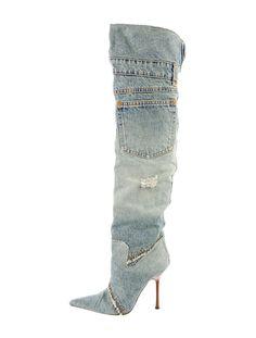 Dolce & Gabbana Thigh-High Denim Boots