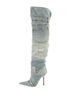 Dolce & Gabbana Thigh-High Denim Boots