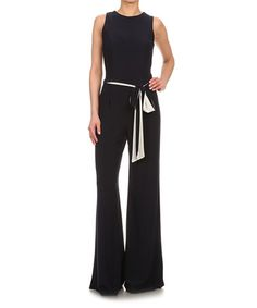 Another great find on #zulily! Navy Tie-Waist Sleeveless Jumpsuit #zulilyfinds