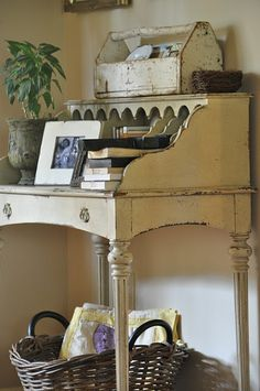 French desk... I would love this in my bedroom - another idea for the old sewing machine cabinet!