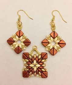 Superduo and Tango bead earrings and pendant  Beautiful Rain Jewelry, USA