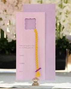 Rapunzel Invitations -- we made one very similar. Still <3 the way they turned out...