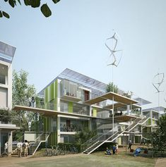 Fun multifamily housing circulation space_Casa 100K, Casa100K, 100,000 House, 100K House, 100K Casa, 100K Prefab, prefabricated building, prefab home, prefab house italy, prefab home italy, sustainable building italy, mario cucinella architects, multi family unit living, zero energy home, passive heating cooling, wind energy housingng