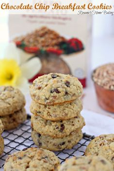 Chocolate chip breakfast cookies – A combo between a soft cookie and a muffin top packed with mini chocolate chips