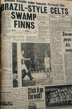 Celtic 9 Kokkola 0 in Sept 1970 at Parkhead. Newspaper report of the European Cup 1st Round, 1st Leg.