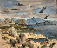 This painting by Peter McIntyre, The Blitz, Canea area defended by NZers, depicts an attack by the Luftwaffe (German air force) on the town of Canea in Crete, May History Of India, Ww2 History, History Online, Military Diorama, Military Art, Military History, Battle Of Crete, Book Of Poems, New Zealand Art