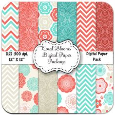 Coral Blooms Digital Paper Package, 12 X 12, 300 dpi., Coral, Blue