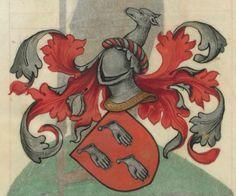 Armorial de la Table ronde.  Date d'édition :  1490-1500  Ms-4976  Folio 14v