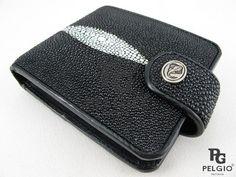 PELGIO Genuine Stingray Skin Women's Coins Clutch Wallet Black Free Shipping #Pelgio #Bifold
