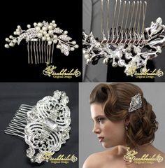 New Silver Bridal Crown Tiara Wedding Jewlery Accessories Antique Hair Pin Comb   eBay