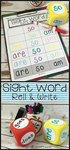 Sight Word Roll And Write Activity-Love This Simple And Fun Game For Kids. Compose Sight Words On A Dry Erase Cube Or Block. I Found Them At The Dollar Tree Students Roll The Dice And Then Rainbow Write Their Sight Words On The Printable Worksheet. Teaching Sight Words, Sight Word Practice, Sight Word Activities, Writing Activities, Educational Activities, Sight Words For Preschool, Pre K Sight Words, Guided Reading Activities, Sight Word Worksheets