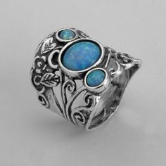 SHABLOOL 925 Sterling Silver Turquoise pressed Turquoise Finger Ring