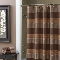 Croscill Angola Bath Collection - #chocolate #bathroom #collections: This jacquard shower curtain is made up of various irregular stripes that give the style its global flavor.