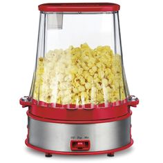 This is the popcorn maker that automatically coats popcorn with liquid or dry seasoning. A chute in the lid allows you to add flavorings like hot sauce, caramel, powdered cinnamon, or grated cheese and the integrated paddle automatically mixes and evenly coats the popcorn.