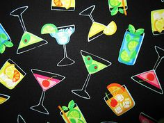 Cotton Fabric CUTE Mixed Drinks HAPPY HOUR Recipes Benertex Cocktails 44w 1yd