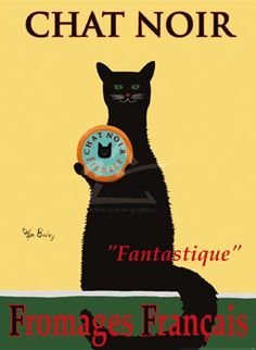 'Chat Noir' cat advertising cheese