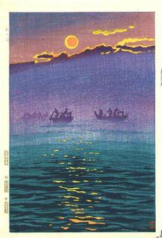 Asa no nami (Morning waves), by Kasamatsu Shiro, 1956 -- See also at: http://woodblockprint.com.au/13.html