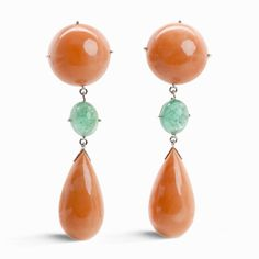 Pink Coral & Emerald Cabochon Earrings