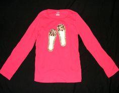 GIRLS GYMBOREE SHIRT Red Long sleeve Ballet Flats Graphics 100% Cotton R/N Sz 8 #Gymboree