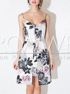 White Spaghetti Strap Backless Floral Print Dress 15.99