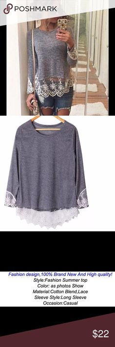 """Women's blouse fashion lace gray loose long sleeve Brand new in package.  Very stylish. Women's extra large. Bust measures approx. 38"""" waist free.  Would also make an excellent gift.  Buy with confidence , I am a top rated seller, mentor, and fast shipper. Don't forget to bundle and save. Thank you. Tops Blouses"""