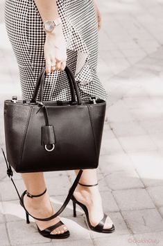 ankle strap sandals with satchel bag Satchel Bag, Ankle Strap Sandals, The Office, Spring, Gingham, Bikinis, Coat, Skirts, How To Wear