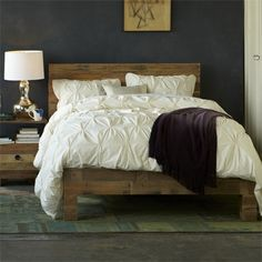 reclaimed timber wood bed