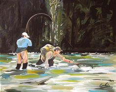 Fly fishing - Acrylic on Canvas