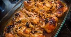 Garlic Brown Sugar Baked Chicken With Caramelized Onions  45 min to prepare serves 6-8  Print  Save Share Pin INGREDIENTS  8 pieces of chick...