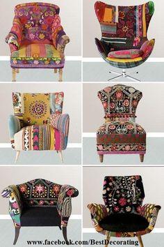 Recortes de tecido colados em móveis de  madeira