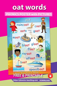 oat words - FREE Printable Phonics Poster - You Need to Have This :-) Phonics Flashcards, Phonics Rules, Phonics Words, Teaching Phonics, Phonics Worksheets, Teaching Kindergarten, Early Learning Activities, Learning Games For Kids, English Lessons For Kids