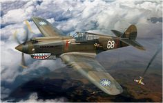 Curtiss P-40C (Hawk 81A-2), China, 3er. Escuadrón de Persecución (Hell's Angels) del AVG 'Tigres Voladores', Kunming, China, primavera de 1942
