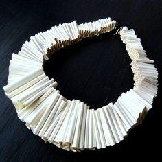 Avant-garde Gilt Metal Wire Needle Statement Necklace