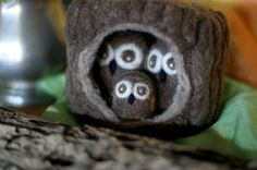Owls family in a Hollow House by yankin2002 on Etsy.  All owls and tree trunk are needle felted.