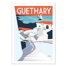 """Retrouvez les affiches Marcel Guethary """"La Passerelle"""" sur www.marcel-biarritz.com. Papier 250g/m² couché mat. Posters originaux tirés en série limitée."""
