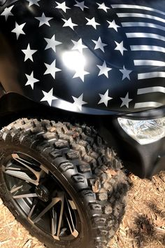 Custom golf cart ideas for a one of a kind look includes stars and stripes on a black matt finish. #customgolfcartideas #customgolfcartbody #golfcartpaint Custom Golf Cart Bodies, Custom Golf Carts, Golf Cart Wheels, Custom Body Kits, Golf Cart Accessories, Fender Flares, Chevrolet Logo, Stripes, Painting