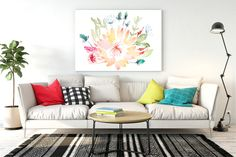 Watercolour art print of abeautiful colourfulprotea bouquet surrounded by fynbos.  Limited Edition, only 30 prints.    Size: A4(unframed)- custom sizing available, please contact me directly    Printed on thick textured white paper (Natural Evolution 280 g - acid free    Individually signed with a pencil in the right hand corner.