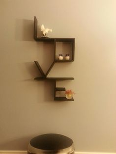 """Small version of """"Love"""" shelf in black super cheap and only took a few hrs to constructs!"""