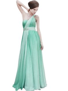 One Shoulder Blue A Line Evening Wedding Dress (80339)  £245.00 Dashing evening floor length dress featuring a pleated bodice with a charming diagonal front for a one-shoulder strap design, polished by an elegant gem stone embellishment.