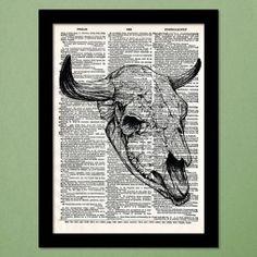 Bull Skull Dictionary Art Print