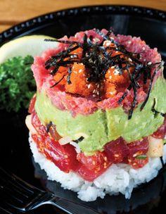 Gourmet presentation of Poke - Dining: Crying Uncle - Honolulu Magazine - July 2009 - Hawaii