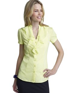 Double Ruffle Shirt in yellow from The Limited