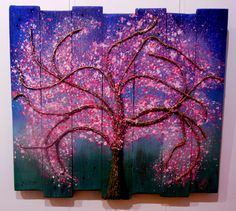 Original Pallet art by Sara Bowles Art.com fantasy blossom tree in string, twine, on recycled pallet. SOLD