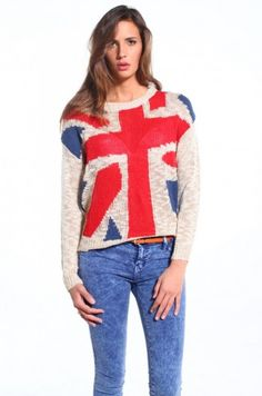 Union Jack Sweater in Taupe from ShopAKIRA.com #akirachicago #shopakira #unionjack