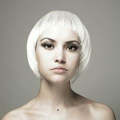 Get yourself a halo of platinum blonde. Fringe Hairstyles, Hairstyles Haircuts, Trendy Hairstyles, Bob Haircuts, Best Bobs, White Blonde, White Hair, Layered Bobs, Platinum Blonde
