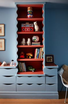 KIDS BEDROOM: Why runaway to the circus when you can runaway to the NY Loft instead? Studio Giancarlo Valle brings this bedroom to life with the vibrant combo of red and blue. Girl Bedroom Designs, Girls Bedroom, Car Bedroom, Bedroom Decor, Ny Loft, Kids Bedroom Furniture, Furniture Design, Furniture Ideas, Boy Room